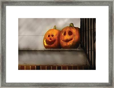 Autumn - Pumpkins - Two Goofy Pumpkins Framed Print by Mike Savad