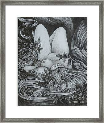 Framed Print featuring the drawing Autumn 2 by Anna  Duyunova