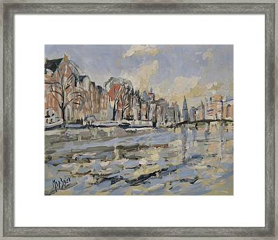 Autumn Along The Amstel In Amsterdam Framed Print