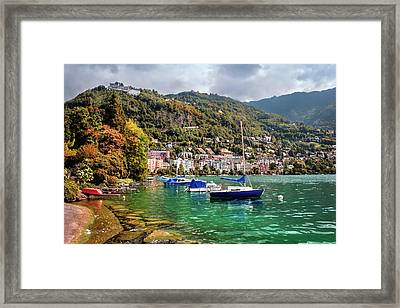 Autumn Approaches In Montreux Switzerland  Framed Print