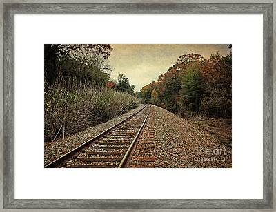 Autumn Around The Bend Framed Print by Lisa Holmgreen