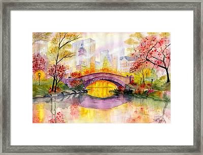 Autumn At Gapstow Bridge Central Park Framed Print