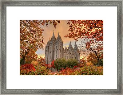 Autumn At Temple Square Framed Print