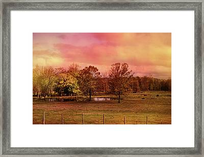 Autumn At The Cattle Farm Landscape Art Framed Print