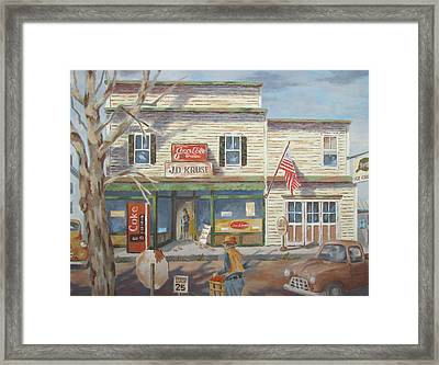 Autumn At The Corner Country Store Framed Print by Tony Caviston