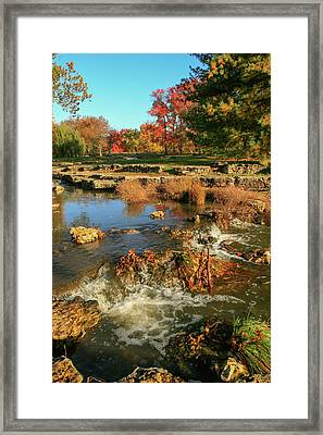 Autumn At The Deer Lake Creek Riffles In Forest Park St Louis Missouri Framed Print