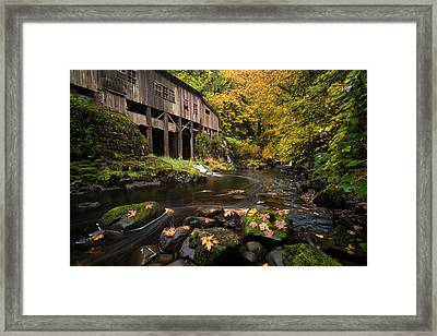 Framed Print featuring the photograph Autumn At The Grist Mill by Brian Bonham