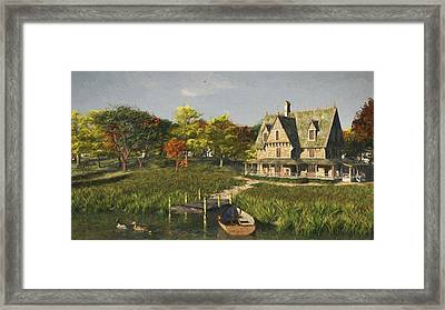 Framed Print featuring the digital art Autumn At The Lake by Jayne Wilson