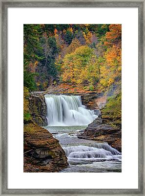 Autumn At The Lower Falls Framed Print by Rick Berk