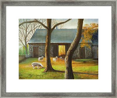 Framed Print featuring the painting Autumn At The Sheep Barn by Oz Freedgood
