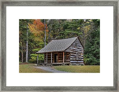 Autumn At The Shields Cabin In Cades Cove In The Great Smoky Mountains National Park Framed Print by Carol R Montoya