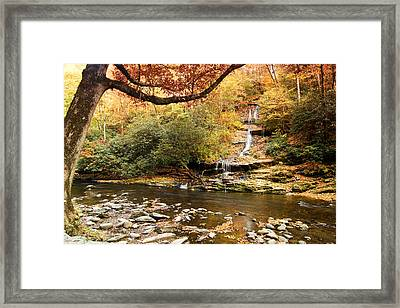 Framed Print featuring the photograph Autumn At Tom Branch Falls  by Bob Decker