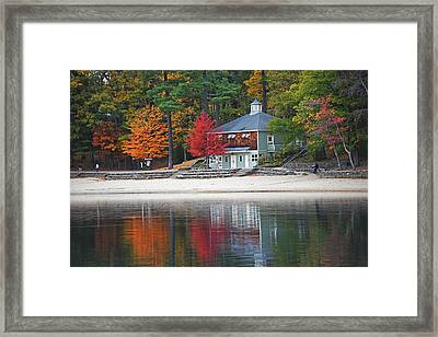 Autumn At Walden Pond Fall Trees Concord Ma Framed Print