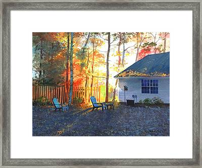 Framed Print featuring the painting Autumn Backyard by Sergey Zhiboedov