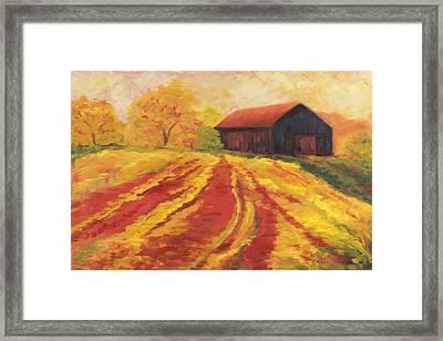 Autumn Barn Framed Print by Amy Welborn