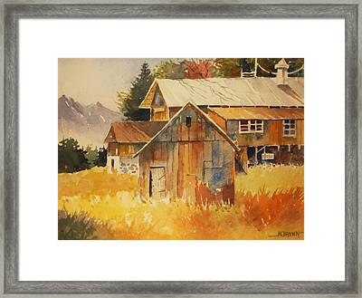 Autumn Barn And Sheds Framed Print by Al Brown
