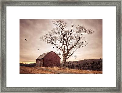 Framed Print featuring the photograph Autumn Barn And Tree by Gary Heller
