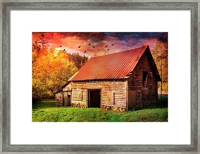 Autumn Barn At Sunset Framed Print