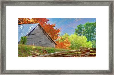 Autumn Barn Digital Watercolor Framed Print