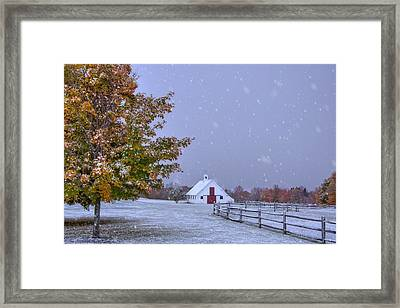 Autumn Barn In Snow - Vermont Framed Print