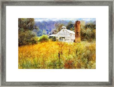 Framed Print featuring the digital art Autumn Barn In The Morning by Francesa Miller