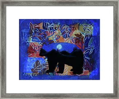 Autumn Bear Silhoutte Framed Print