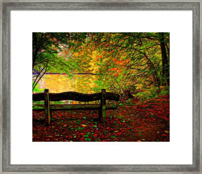 Autumn Bench Framed Print by Lilia D