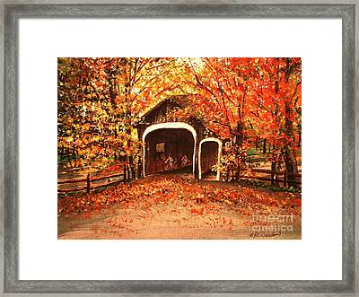 Framed Print featuring the painting Autumn Bike Ride by Patricia L Davidson