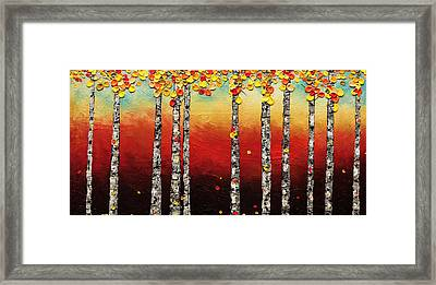 Framed Print featuring the painting Autumn Birch Trees by Carmen Guedez