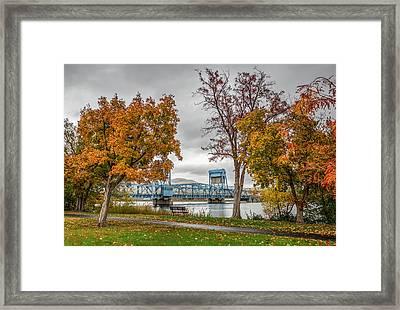 Autumn Blue Bridge Framed Print by Brad Stinson
