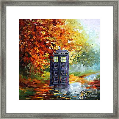 Autumn Blue Phone Box Framed Print by Three Second