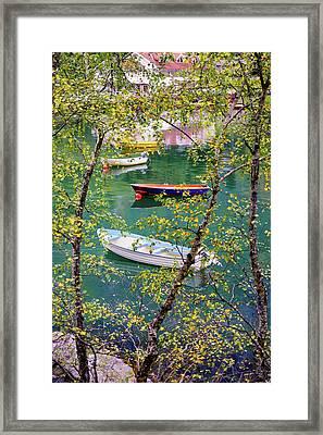 Autumn. Boats Framed Print
