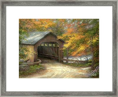 Autumn Bridge Framed Print by Chuck Pinson