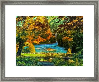 Autumn By A Montana Pond Framed Print