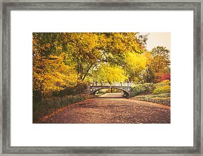 Autumn - Central Park Bridge - New York City Framed Print