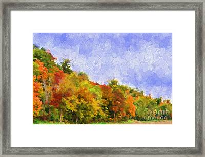 Autumn Color On A Hillside - Digital Paint Framed Print by Debbie Portwood