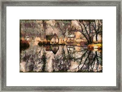 Autumn Colorful Foliage Over Fishing Lake With A Litle House Mirroing In The Water. Framed Print