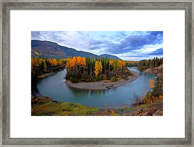 Autumn Colors Along Tanzilla River In Northern British Columbia Framed Print by Mark Duffy