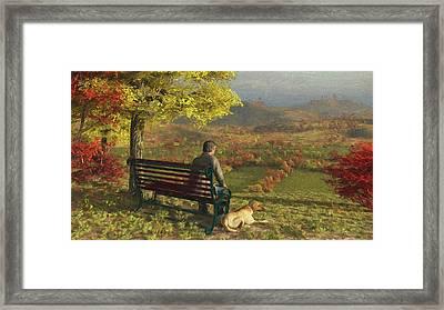 Framed Print featuring the digital art Autumn Companions by Jayne Wilson