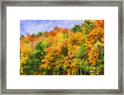 Autumn Country On A Hillside II - Digital Paint Framed Print by Debbie Portwood