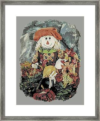 Framed Print featuring the digital art Autumn Country Scarecrow by Kathy Kelly