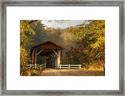 Autumn Covered Bridge Framed Print by Ann Bridges