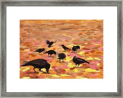 Autumn Crows Framed Print by Mimi Boothby