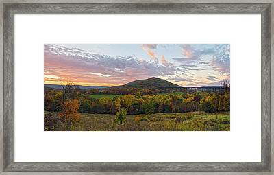 Autumn Dawn At Moodna Viaduct Trestle Panorama  Framed Print by Angelo Marcialis