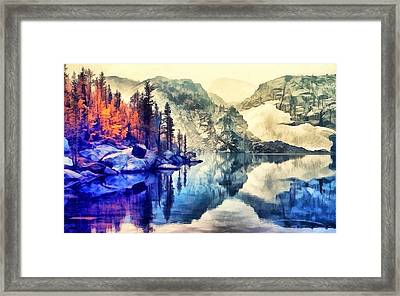 Autumn Day On The Lake. Framed Print