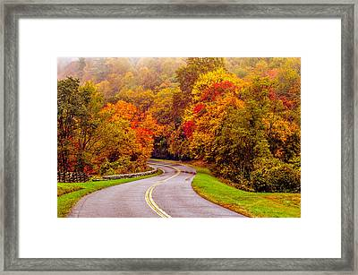Autumn Drive On The Blue Ridge Framed Print by Alex Grichenko
