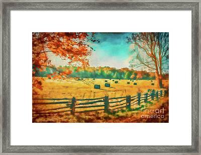 Autumn Fall Colors - Fall Hay Harvest Ap1 Framed Print