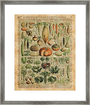 Autumn Fall Vegetables Kiche Harvest Thanksgiving Dictionary Art Vintage Cottage Chic Framed Print by Jacob Kuch