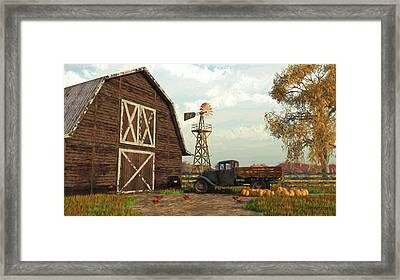Autumn Farm Scene Framed Print