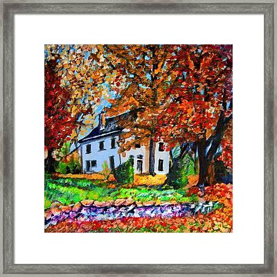 Autumn Farmhouse Framed Print by Laura Heggestad